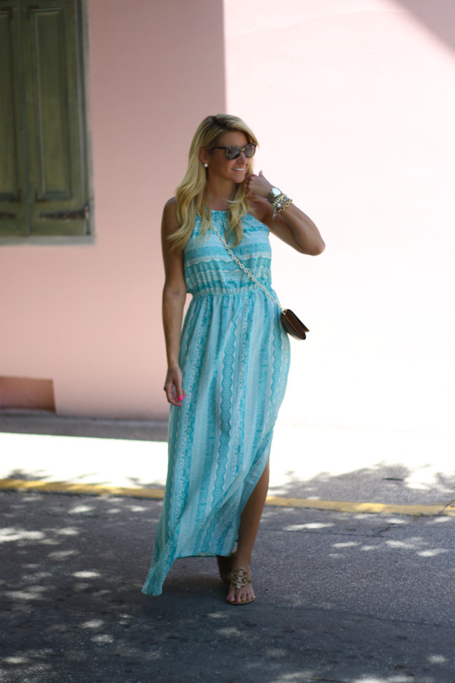 Nordstrom MAxi Dress with Pink Wall Tory Burch Wallet on Chain Crossbody with Tory Burch Miller Sandals-2