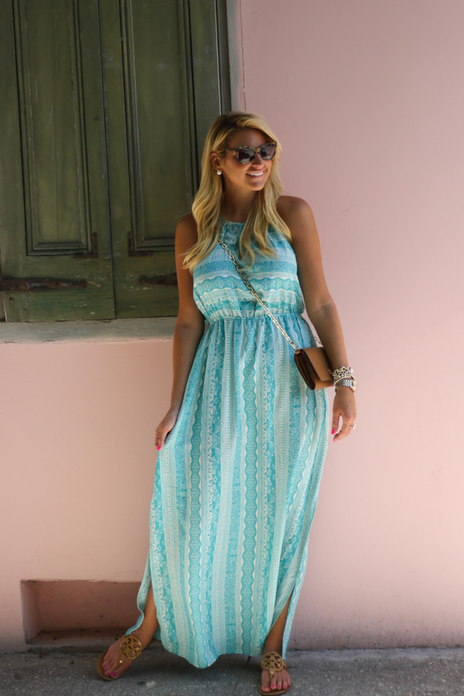 Nordstrom MAxi Dress with Pink Wall Tory Burch Wallet on Chain Crossbody with Tory Burch Miller Sandals-6