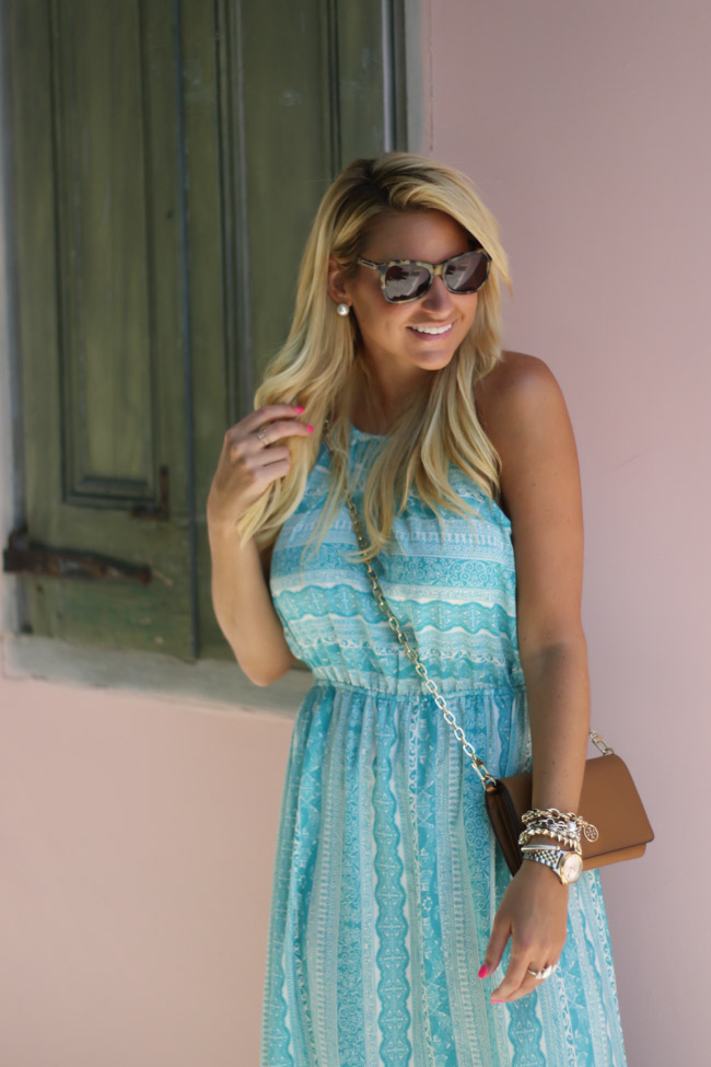 Nordstrom MAxi Dress with Pink Wall Tory Burch Wallet on Chain Crossbody with Tory Burch Miller Sandals-7