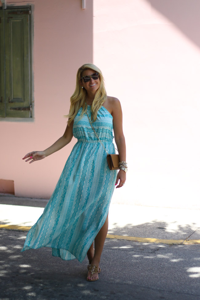 830f728b9088 Nordstrom MAxi Dress with Pink Wall Tory Burch Wallet on Chain Crossbody  with Tory Burch Miller Sandals