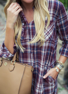 a328fba6b849 tory burch robinson tote with prada sunglasses and the best fall plaid  shirtdress-14
