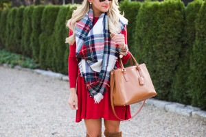 Christmas Outfit Idea Christmas Plaid Scarf with Over the Knee Boots_-2