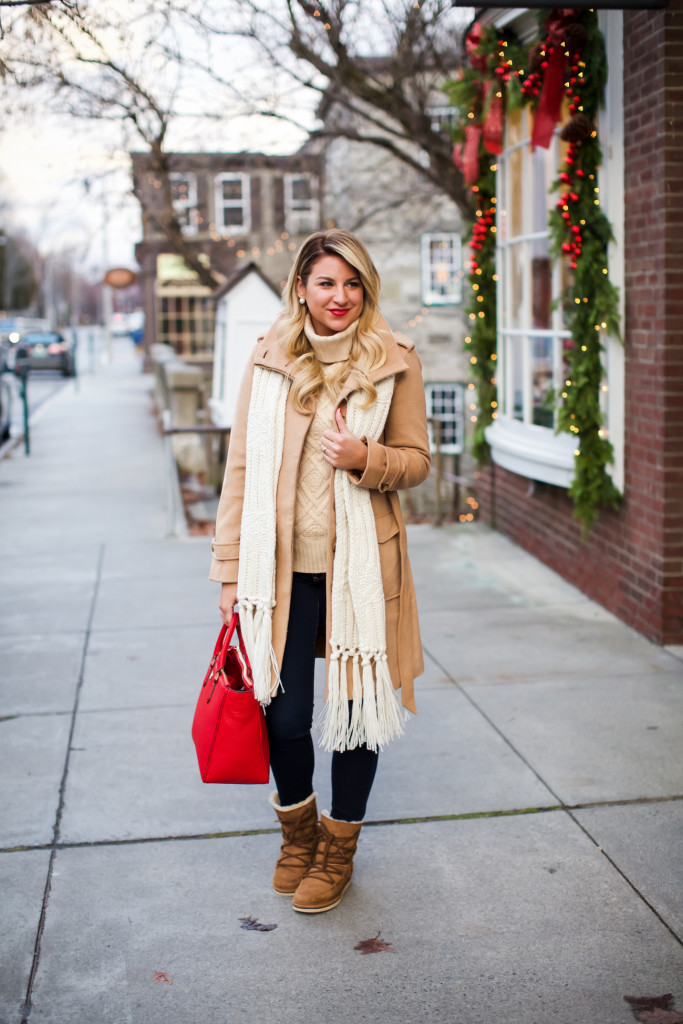 Tory Burch Robinson Tote, Topshop Knit Scarf, Loft Rolled Collar Tie Coat,  J Crew Cambridge Sweater, Ugg lace Up Boots