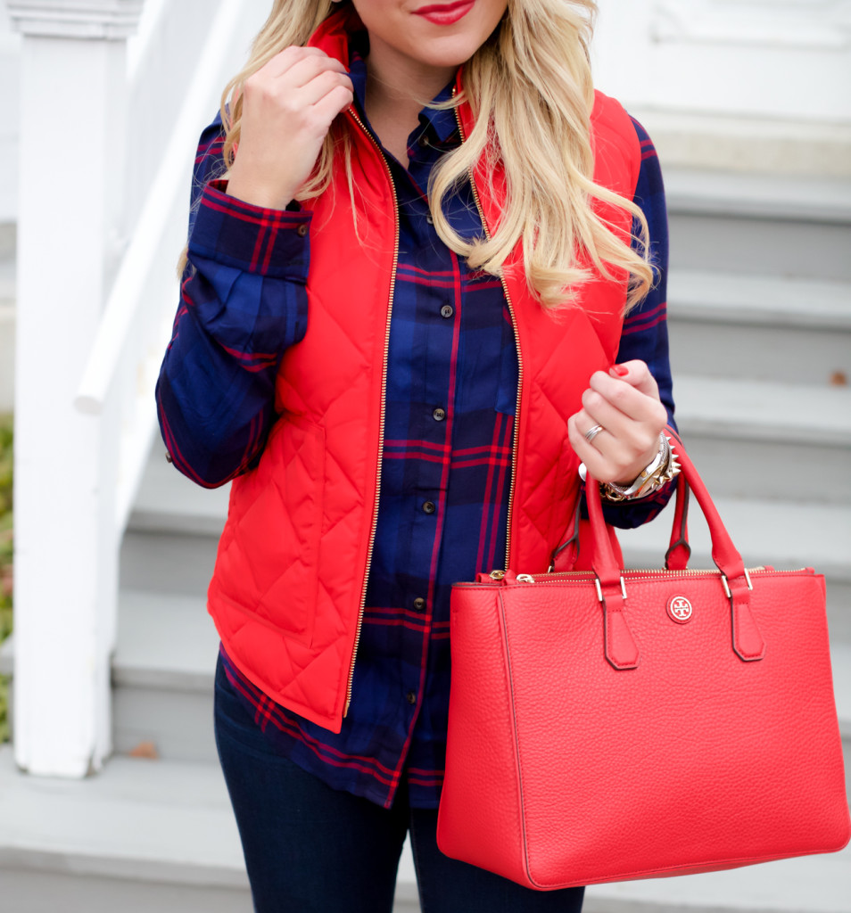 Red Poppy Vest J.Crew Nordstrom Plaid Tunic with Red Hunter Hoots and Tory Burch Handbag. What to wear in December Christmas Party-10