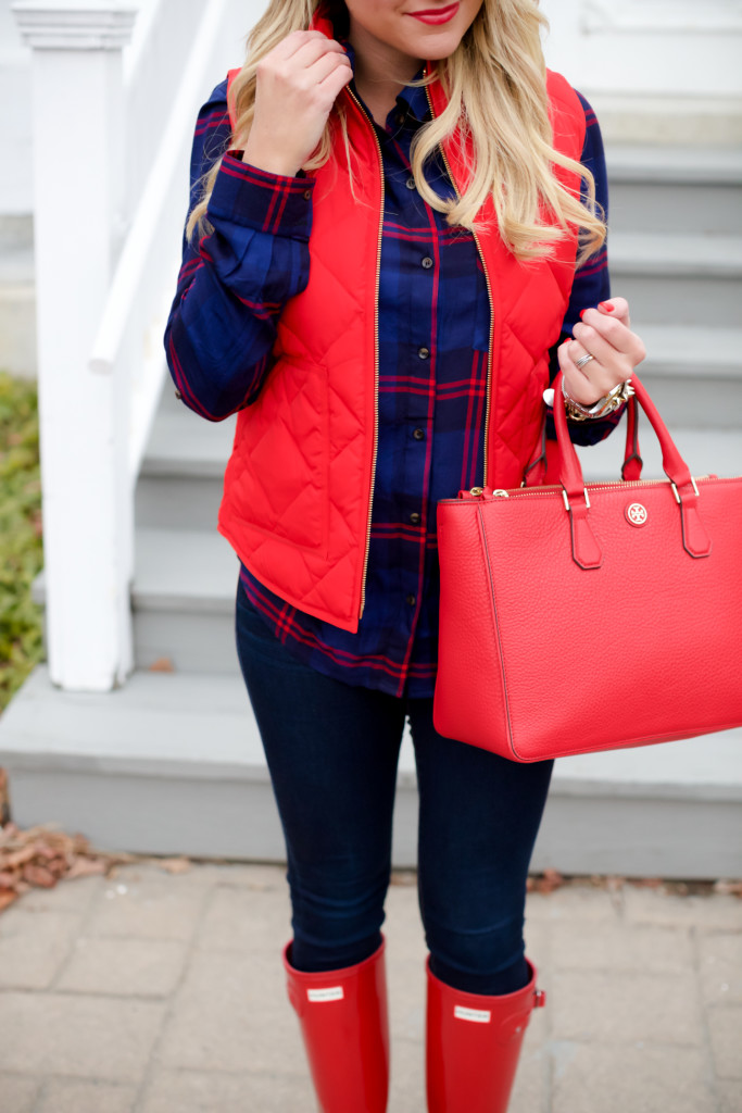 Red Poppy Vest J.Crew Nordstrom Plaid Tunic with Red Hunter Hoots and Tory Burch Handbag. What to wear in December Christmas Party-11