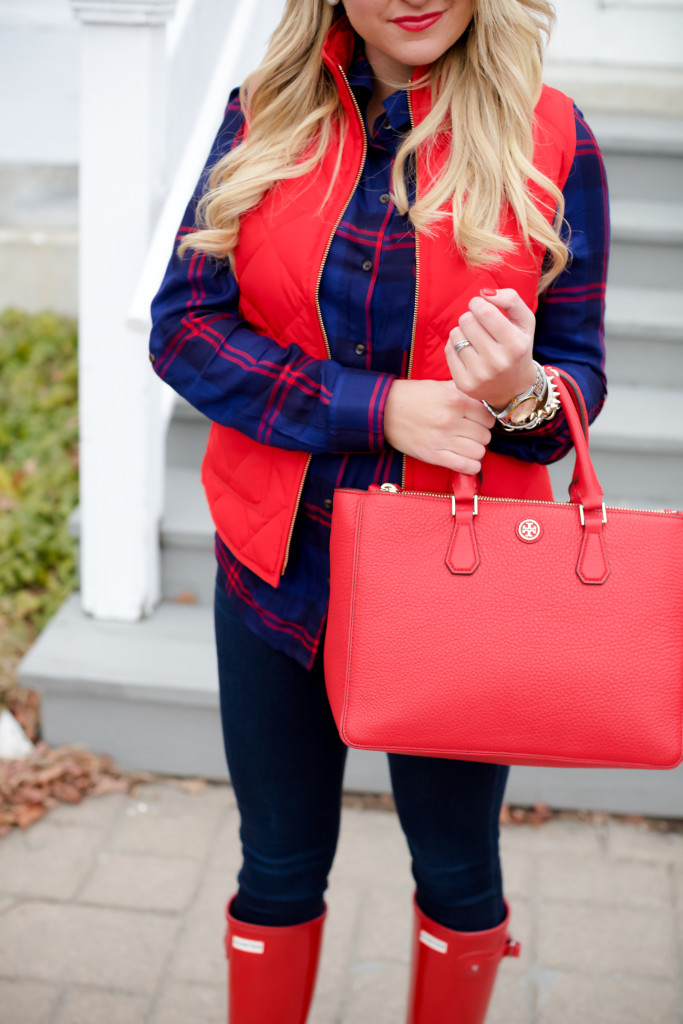 Red Poppy Vest J.Crew Nordstrom Plaid Tunic with Red Hunter Hoots and Tory Burch Handbag. What to wear in December Christmas Party-13