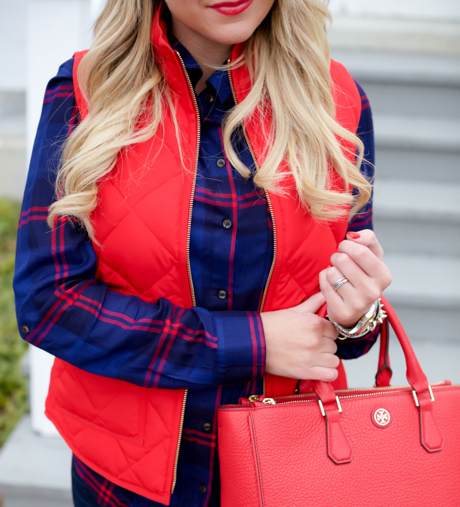 Red Poppy Vest J.Crew Nordstrom Plaid Tunic with Red Hunter Hoots and Tory Burch Handbag. What to wear in December Christmas Party-14