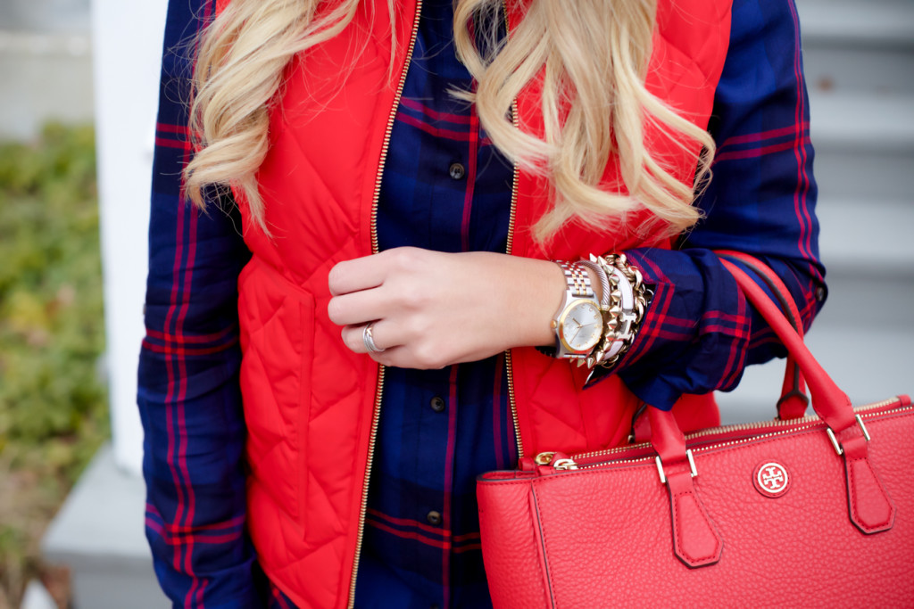Red Poppy Vest J.Crew Nordstrom Plaid Tunic with Red Hunter Hoots and Tory Burch Handbag. What to wear in December Christmas Party-15