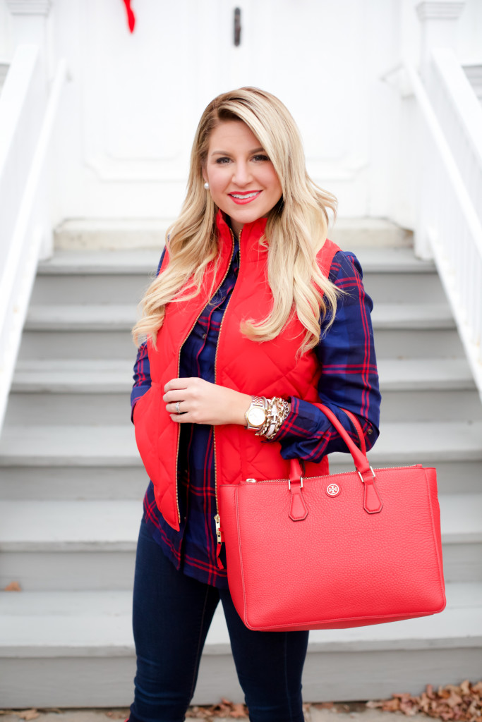 Red Poppy Vest J.Crew Nordstrom Plaid Tunic with Red Hunter Hoots and Tory Burch Handbag. What to wear in December Christmas Party-6