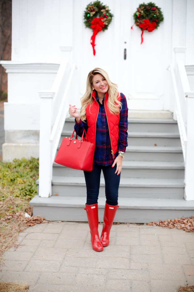 Red Poppy Vest J.Crew Nordstrom Plaid Tunic with Red Hunter Hoots and Tory Burch Handbag. What to wear in December Christmas Party