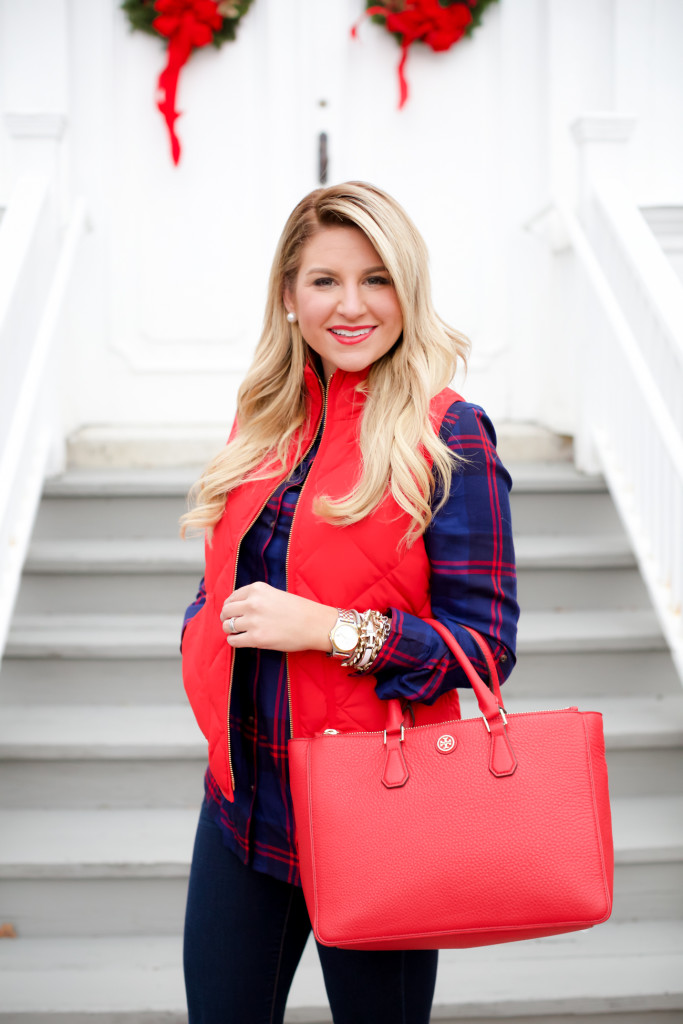 Red Poppy Vest J.Crew Nordstrom Plaid Tunic with Red Hunter Hoots and Tory Burch Handbag. What to wear in December Christmas Party-7