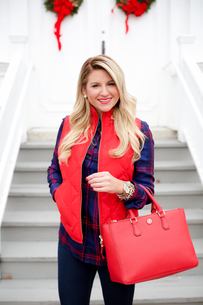 Red Poppy Vest J.Crew Nordstrom Plaid Tunic with Red Hunter Hoots and Tory Burch Handbag. What to wear in December Christmas Party-8