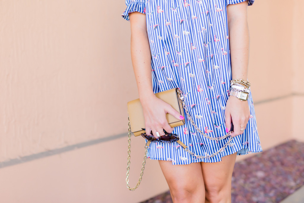 Chicwish Flamingo Dress Bauble Bar Necklace Tory Burch Clutch with Soludos Wedges-5