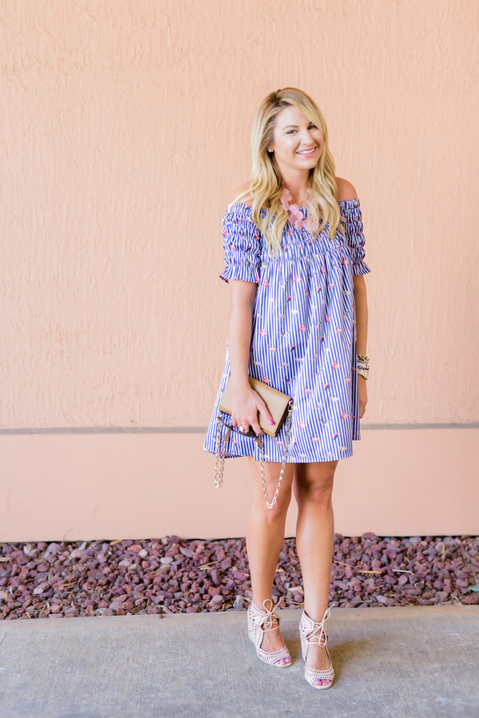 Chicwish Flamingo Dress Bauble Bar Necklace Tory Burch Clutch with Soludos Wedges