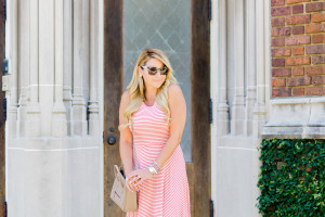 stripe fit and flare dress with celine hand bag and prada sunglasses with lace up wedges