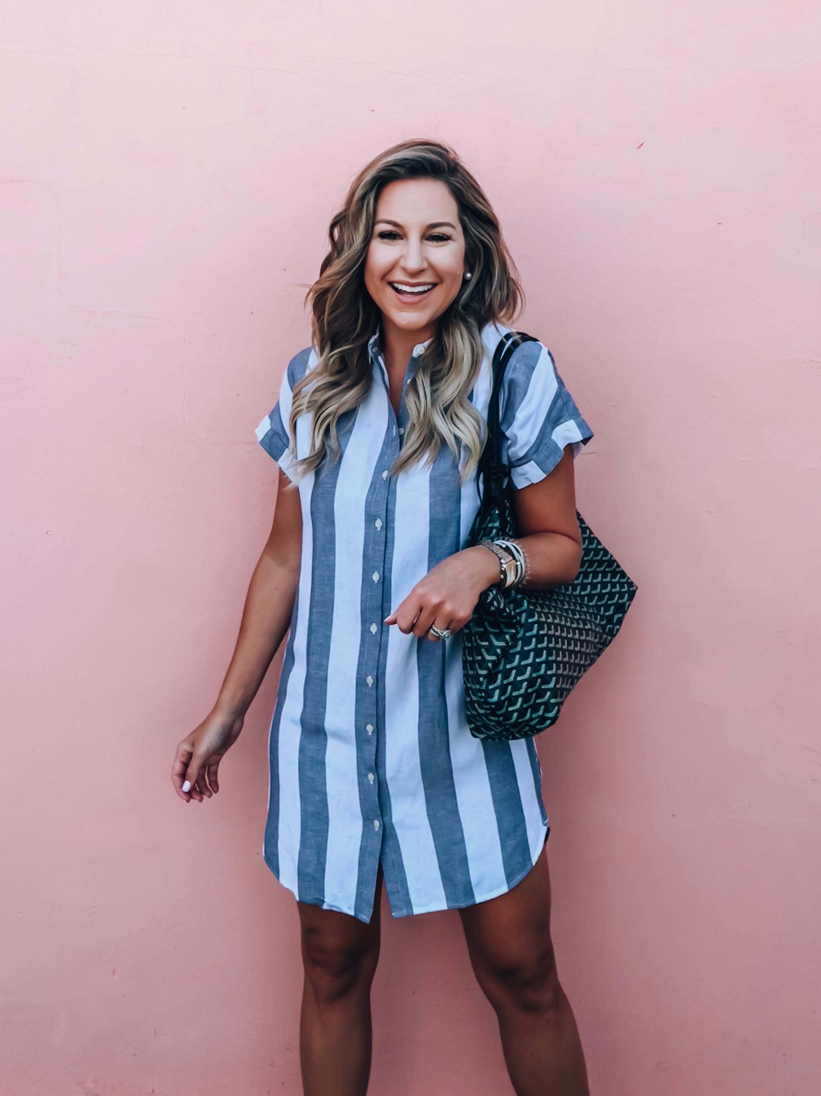 5fa608702705 Gray and White Stripes. Outfit Details  Stripe Shirtdress ...